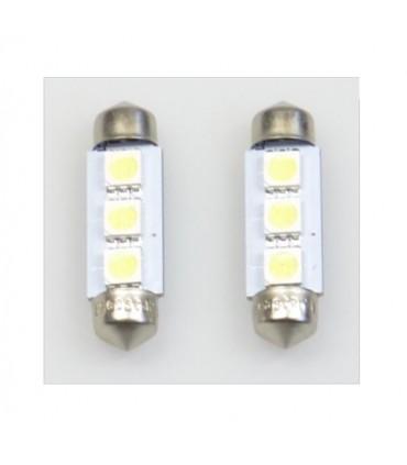 Soffitten 3-fach LED 36mm x 10mm Weiss oder Blau 2 Stück
