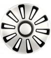 4er Set Radkappen - Radzierblenden Silverstone Design 14 Zoll Schwarz/Silber