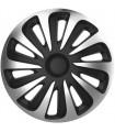 4er Set Radkappen - Radzierblenden Caliber Design 17 Zoll Silber/Schwarz Carbonlook