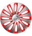 4er Set Radkappen - Radzierblenden Sepang Design 17 Zoll Silber/Rot Carbonlook