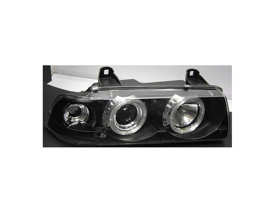 bmw e36 scheinwerfer klarglas angel eyes schwarz ii. Black Bedroom Furniture Sets. Home Design Ideas